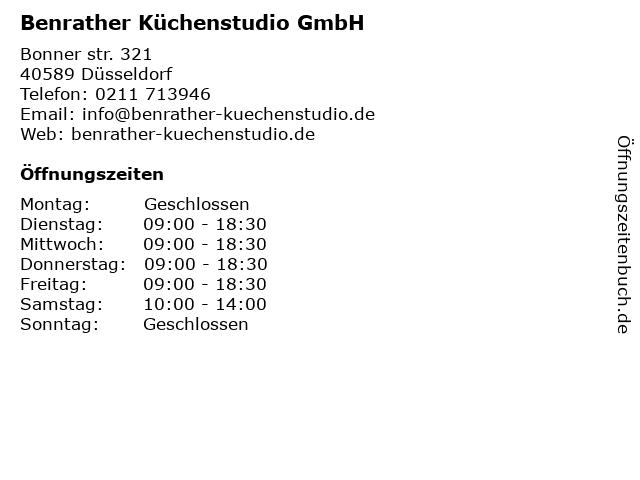 ᐅ Offnungszeiten Benrather Kuchenstudio Gmbh Bonner Strasse 321