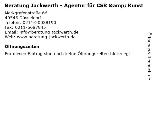Beratung Jackwerth - Agentur für CSR & Kunst in Düsseldorf: Adresse und Öffnungszeiten