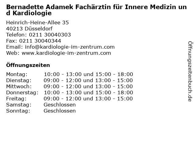 Bernadette Adamek Fachärztin für Innere Medizin und Kardiologie in Düsseldorf: Adresse und Öffnungszeiten