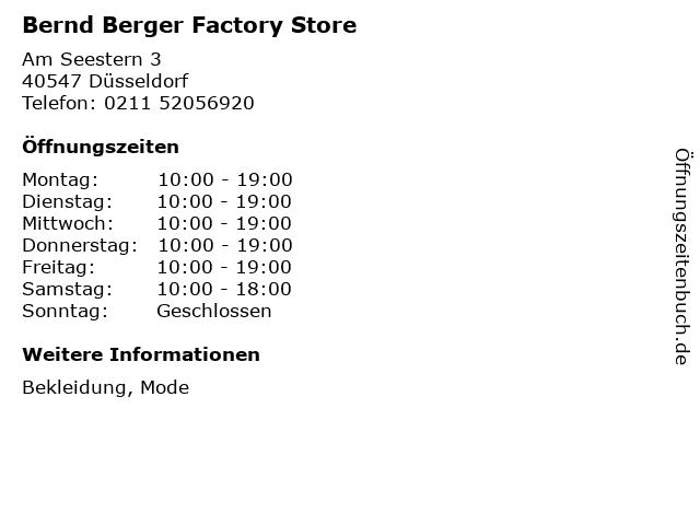 Bernd Berger Factory Store in Düsseldorf: Adresse und Öffnungszeiten