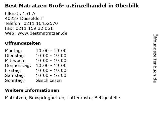 Best Matratzen Groß- u.Einzelhandel in Oberbilk in Düsseldorf: Adresse und Öffnungszeiten
