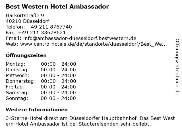 Best Western Hotel Ambassador in Düsseldorf: Adresse und Öffnungszeiten