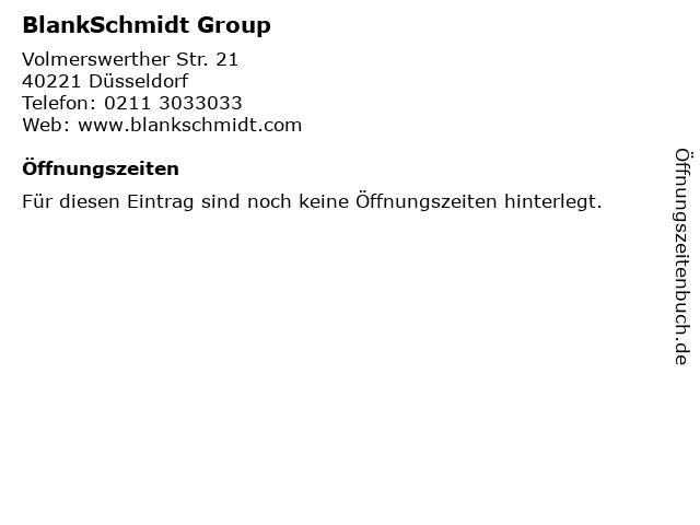 BlankSchmidt Group in Düsseldorf: Adresse und Öffnungszeiten