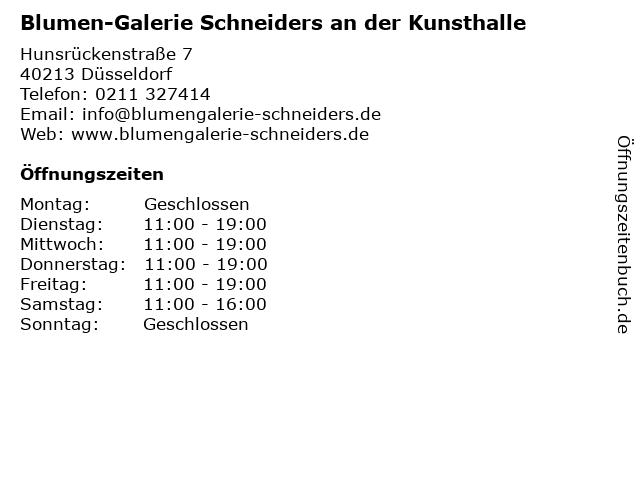 Blumen-Galerie Schneiders an der Kunsthalle in Düsseldorf: Adresse und Öffnungszeiten