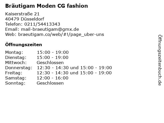 Bräutigam Moden CG fashion in Düsseldorf: Adresse und Öffnungszeiten