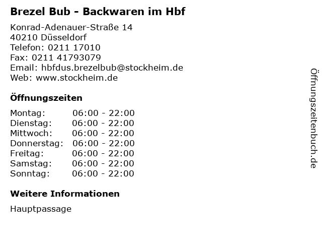 Brezel Bub - Backwaren im Hbf in Düsseldorf: Adresse und Öffnungszeiten