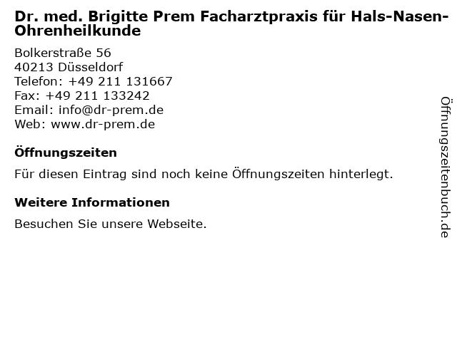 Brigitte Prem Fachärztin für HNO-Heilkunde in Düsseldorf: Adresse und Öffnungszeiten