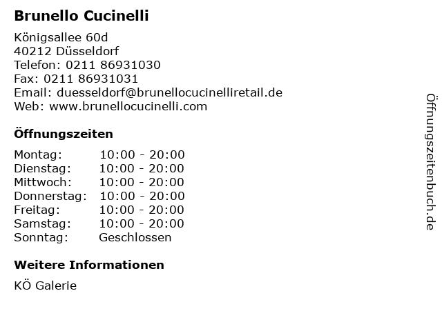 Brunello Cucinelli in Düsseldorf: Adresse und Öffnungszeiten