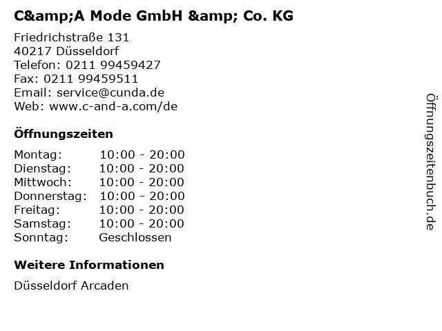 C&A Mode GmbH & Co. KG in Düsseldorf: Adresse und Öffnungszeiten