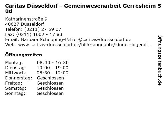 Caritas Düsseldorf - Gemeinwesenarbeit Gerresheim Süd in Düsseldorf: Adresse und Öffnungszeiten