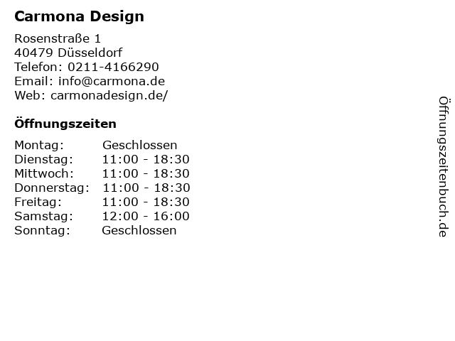 Carmona Design in Düsseldorf: Adresse und Öffnungszeiten