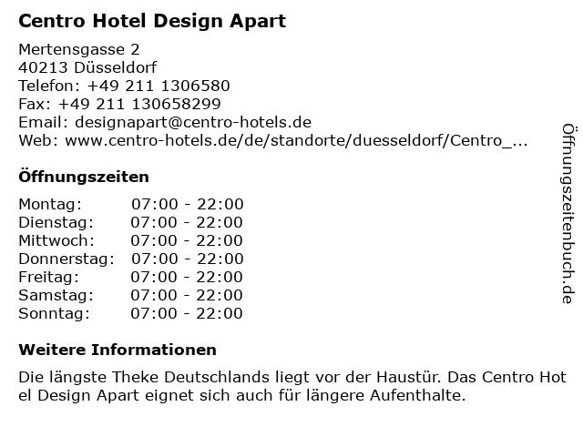 Centro Hotel Design Apart in Düsseldorf: Adresse und Öffnungszeiten