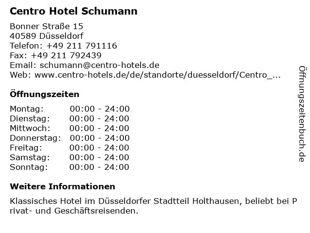 Centro Hotel Schumann in Düsseldorf: Adresse und Öffnungszeiten