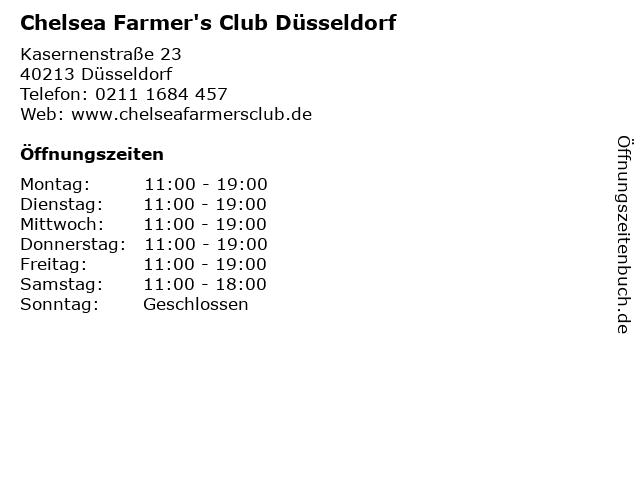 Chelsea Farmer's Club Düsseldorf in Düsseldorf: Adresse und Öffnungszeiten