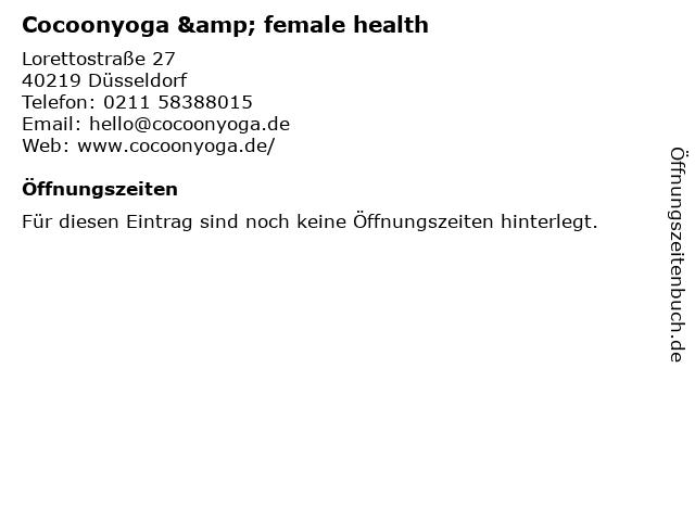 Cocoonyoga & female health in Düsseldorf: Adresse und Öffnungszeiten