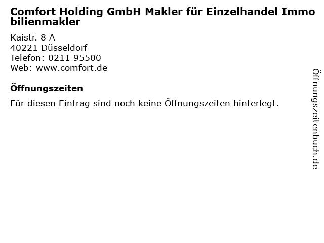 Comfort Holding GmbH Makler für Einzelhandel Immobilienmakler in Düsseldorf: Adresse und Öffnungszeiten