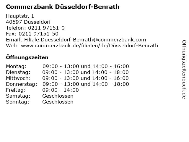öffnungszeiten Commerzbank Düsseldorf