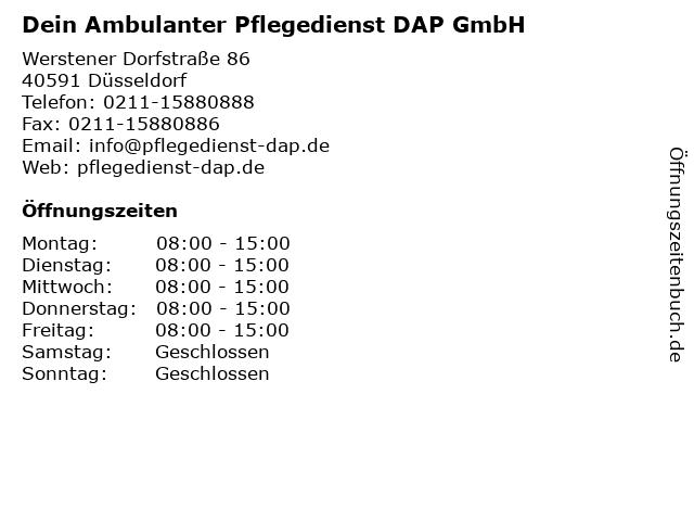 DAP-Dein Ambulanter Pflegedienst - Bürozeiten in Düsseldorf: Adresse und Öffnungszeiten