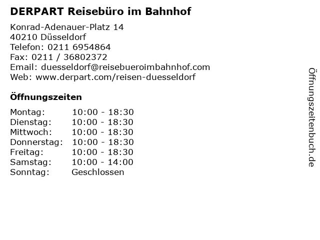 DERPART Reisebüro im Bahnhof in Düsseldorf: Adresse und Öffnungszeiten