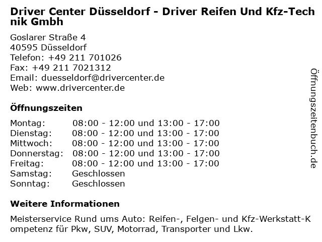 DRIVER CENTER DÜSSELDORF - DRIVER REIFEN UND KFZ-TECHNIK GMBH in Düsseldorf: Adresse und Öffnungszeiten