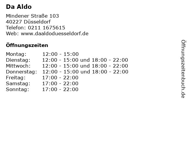 Da Aldo in Düsseldorf: Adresse und Öffnungszeiten