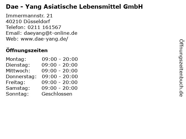 Dae - Yang Asiatische Lebensmittel GmbH in Düsseldorf: Adresse und Öffnungszeiten