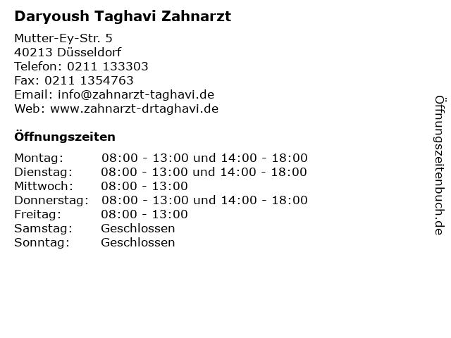 Daryoush Taghavi Zahnarzt in Düsseldorf: Adresse und Öffnungszeiten