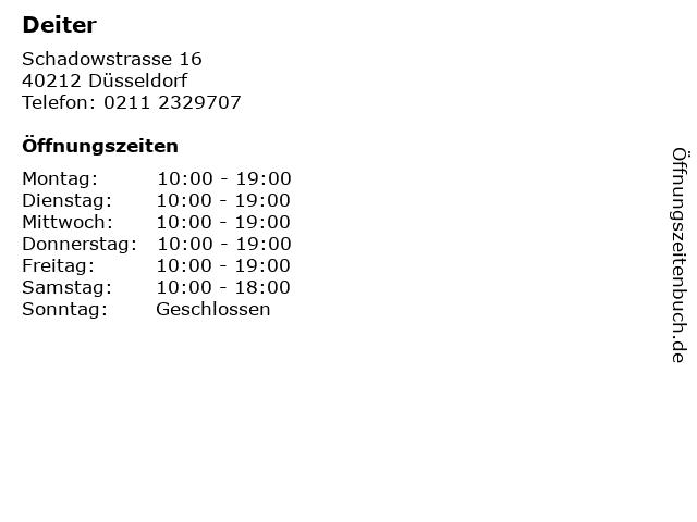 Deiter in Düsseldorf: Adresse und Öffnungszeiten