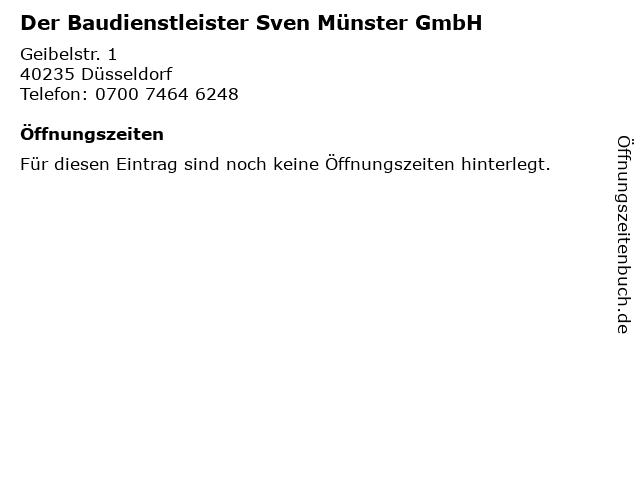 Der Baudienstleister Sven Münster GmbH in Düsseldorf: Adresse und Öffnungszeiten
