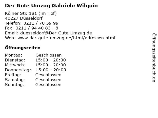 Der Gute Umzug Gabriele Wilquin in Düsseldorf: Adresse und Öffnungszeiten