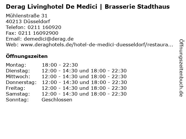 Derag Livinghotel De Medici | Brasserie Stadthaus in Düsseldorf: Adresse und Öffnungszeiten