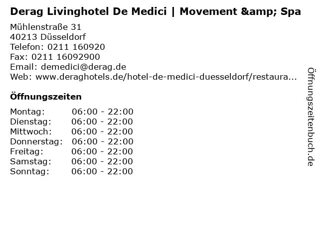 Derag Livinghotel De Medici | Movement & Spa in Düsseldorf: Adresse und Öffnungszeiten