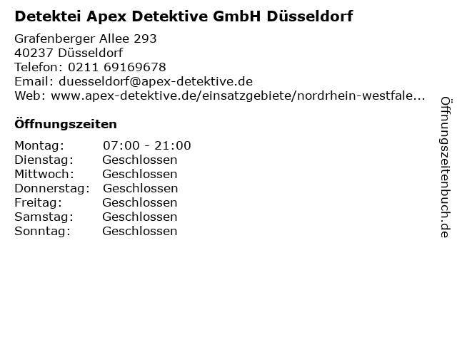 Detektei Apex Detektive GmbH Düsseldorf in Düsseldorf: Adresse und Öffnungszeiten