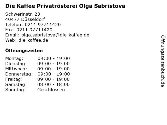 Die Kaffee Privatrösterei Olga Sabristova in Düsseldorf: Adresse und Öffnungszeiten