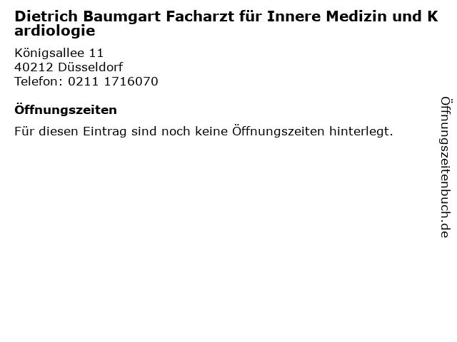 Dietrich Baumgart Facharzt für Innere Medizin und Kardiologie in Düsseldorf: Adresse und Öffnungszeiten