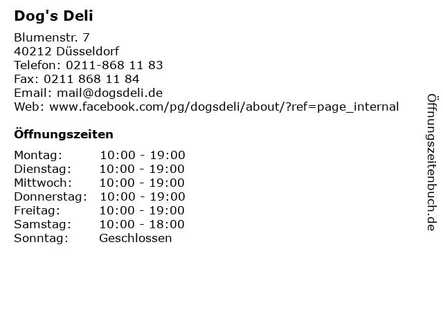 Dog's Deli in Düsseldorf: Adresse und Öffnungszeiten