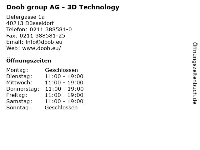 Doob group AG - 3D Technology in Düsseldorf: Adresse und Öffnungszeiten