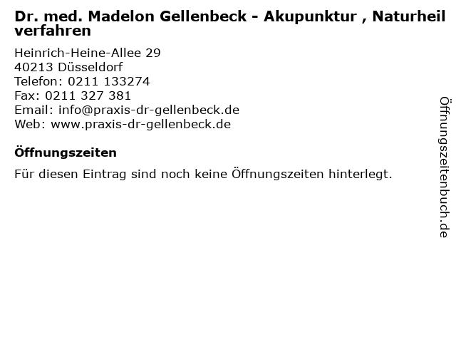 Dr. med. Madelon Gellenbeck - Akupunktur , Naturheilverfahren in Düsseldorf: Adresse und Öffnungszeiten