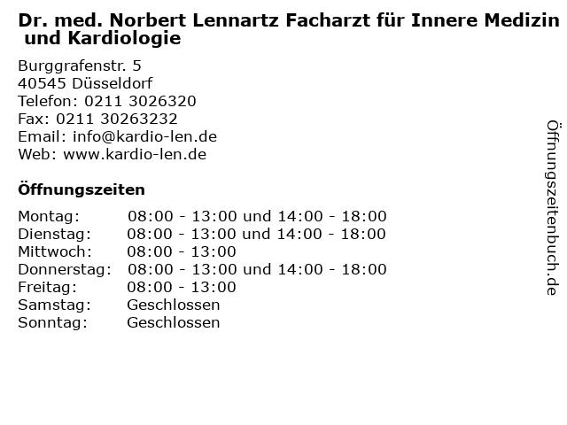 Dr. med. Norbert Lennartz Facharzt für Innere Medizin und Kardiologie in Düsseldorf: Adresse und Öffnungszeiten