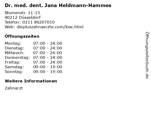 Dr. med. dent. Jana Heldmann-Hammes in Düsseldorf: Adresse und Öffnungszeiten