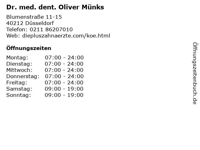 Dr. med. dent. Oliver Münks in Düsseldorf: Adresse und Öffnungszeiten