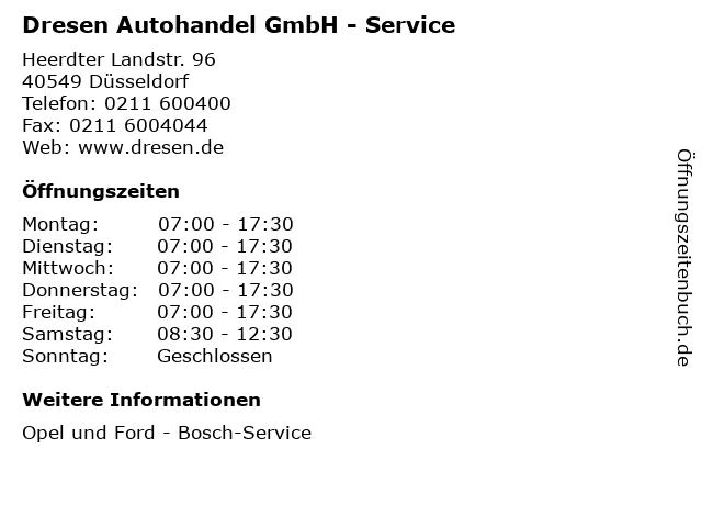 Dresen Autohandel GmbH - Service in Düsseldorf: Adresse und Öffnungszeiten