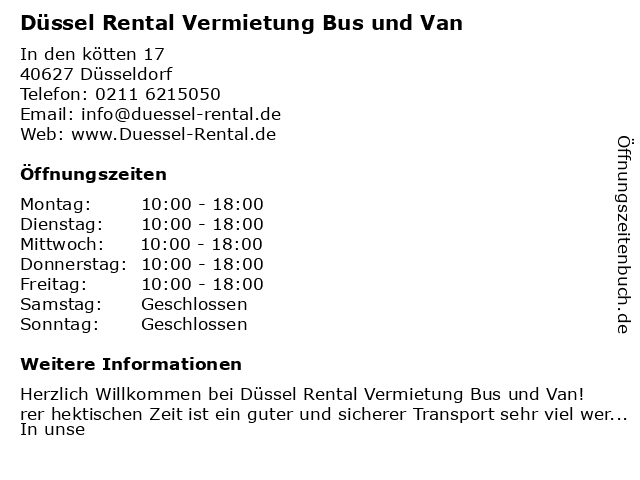Düssel Rental Vermietung Bus und Van in Düsseldorf: Adresse und Öffnungszeiten