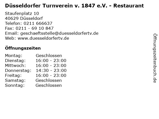 Düsseldorfer Turnverein v. 1847 e.V. - Restaurant in Düsseldorf: Adresse und Öffnungszeiten