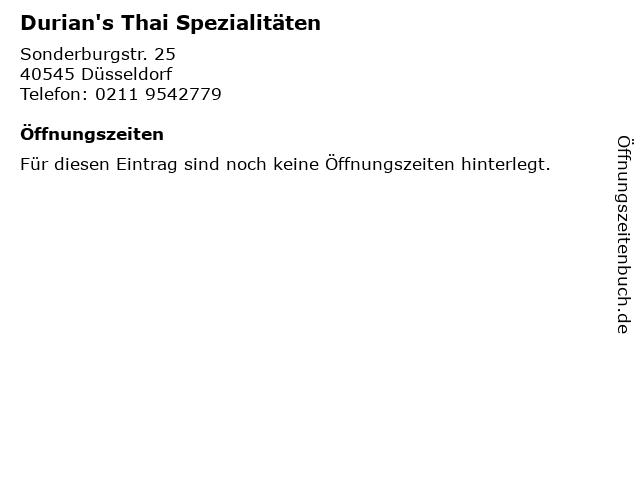 Durian's Thai Spezialitäten in Düsseldorf: Adresse und Öffnungszeiten