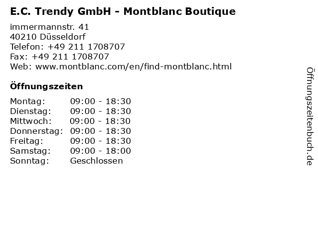 E.C. Trendy GmbH - Montblanc Boutique in Düsseldorf: Adresse und Öffnungszeiten