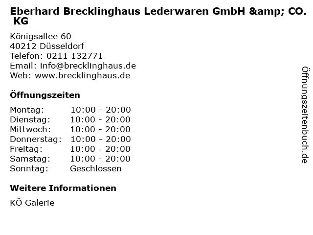 Eberhard Brecklinghaus Lederwaren GmbH & CO. KG in Düsseldorf: Adresse und Öffnungszeiten