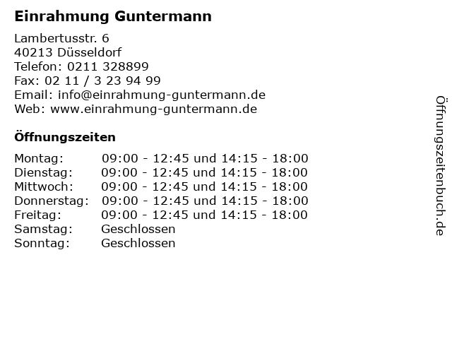 Einrahmung Guntermann in Düsseldorf: Adresse und Öffnungszeiten