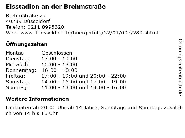 Eisstadion an der Brehmstraße in Düsseldorf: Adresse und Öffnungszeiten