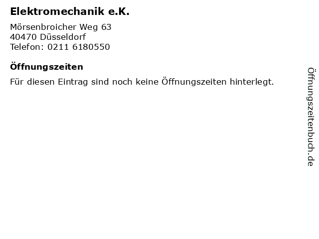 Elektromechanik e.K. in Düsseldorf: Adresse und Öffnungszeiten